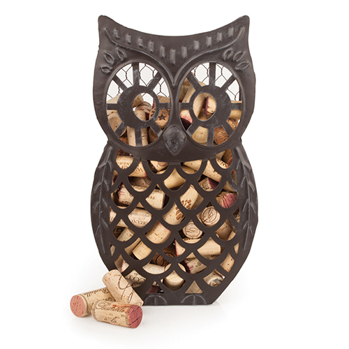 rustic cork holder, Wise Owl metal corks collector decorative wine cork holders