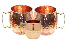 Handcrafted Hammered Copper Moscow Mule Mugs 16 Ounce Set of 2 with 1 Sh... - $24.33 CAD