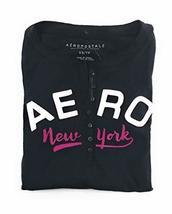 Aeropostale Womens Long Sleeve Henley Shirt Black X-Small - $13.99