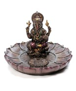 "GANESHA ROUND INCENSE BURNER 3.5"" Hindu Elephant God Resin Statue Ganesh... - $29.95"