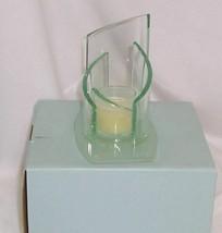 PartyLite Stratus Votive Holder Green Tinted Glass Modern Sleek P7538 - $14.80