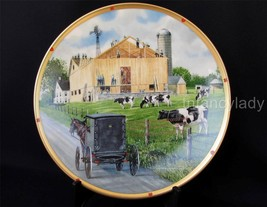 The Barn Raising The Amish Life Plate Collection Don Patterson Lenox Collection - $24.50
