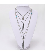 Silver Bohemian Style Multilayer Silver Chain Long Pendant Sweater Neckl... - $10.00
