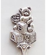 Collector Souvenir Spoon ABC Blocks Teddy Bear Flowers New Baby Birthday - $4.99