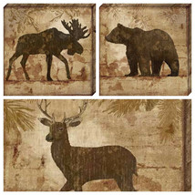 Artistic Reflections Country Moose Bear Dear 11x11 Canvas Gallery Wrap G... - $35.64+