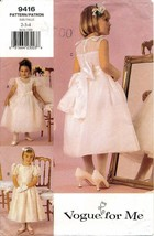 Vogue 9416 - Girls Party or Special Occasion Dress - Sizes 2-3-4 - $9.90