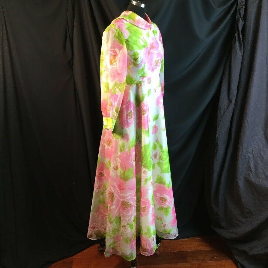 Vtg Bullocks Wilshire Pink Rose Floral Maxi Dress Bateau Collar Shear Overlay