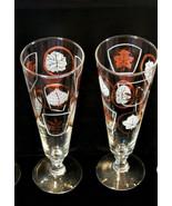 Vintage mcm Glen Echo leaf pilsner barware glasses 2 piece set Federal G... - $12.24