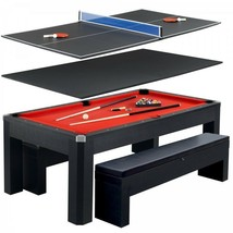 Combo Game Table Black 7ft Pool Table with Table Tennis Conversion Top 2... - $2,179.95
