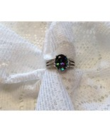 Oval cut Mystic Rainbow Topaz Ring with White Topaz accent stones  9.25 SS - $18.00