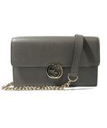 NWT GUCCI 510314 Interlocking Leather Chain Cross Body Wallet Bag, Grey - $989.50
