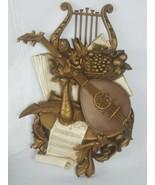 Vtg. Homco Syroco 7236 Harp Mandolin Wall Hanging Plaque Music - $19.79