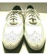 Vintage Foot Joy Green Joys Mens 10.5 M White Leather  Wing Tip  Golf Sh... - $74.22