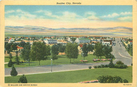 Linen Postcard NV C129 Boulder City Hoover Dam Lake Mead Birds Eye View ... - $7.00