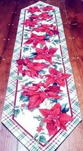 "Table Runner Poinsettia Print Polyester Linen Look Walmart 54"" x 24 1/2""  - $8.99"