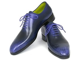 Two Tone Black Blue Oxford Brogue Patina Laceup Leather Handmade Men Dre... - $129.99+
