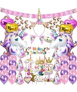 82 Pcs Unicorn Party Supplies Pack Decoration Birthday Gifts for Girls K... - $25.19