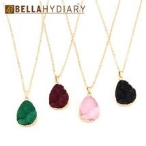 Bijoux Geometric Druzy Resin Pendant Necklace Women Water Drop Necklace for Fema - $9.75