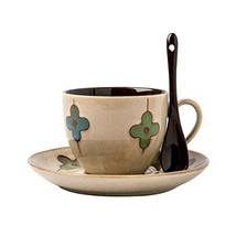Verdental Four-leaf Clover Ceramic Drum Shaped Mini Cafe Mug with Saucer... - $17.16