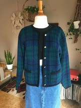 Womens Vintage 80s plaid cardigan sweater boho excellent condition - $23.75