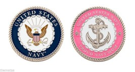 "PROUD NAVY MOM PINK ANCHOR 1.75"" CHALLENGE COIN - $16.24"