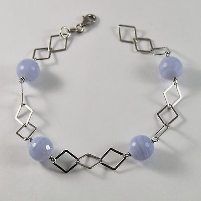SILVER 925 BRACELET WITH CHALCEDONY NATURAL FACETED DIAMETER 10 MM