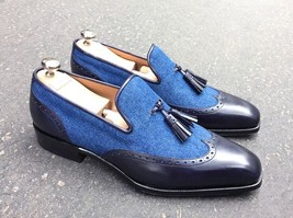 tone shoes shoes Men custom leather Handmade two tessel moccasin made pvPxzwqn