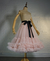 Blush Pink Layered Midi Tulle Skirt Outfit Ballerina Skirt A-Line Puffy Tutus image 3