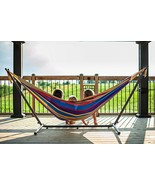 Deluxe Double Hammock With Space Saving Heavy Duty Steel Stand Sturdy - $118.76