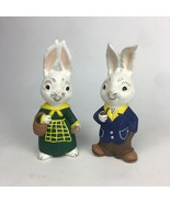 Set of 2 Ceramic Hand Painted Bunny Rabbit Male Smoking Pipe Girl Bread ... - $37.39