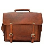 "New 15"" Vintage Rustic Leather School Bag Satchel Shoulder Messenger Lap... - $46.26"