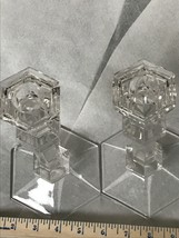 "Crystal Candlesticks Candlesticks 9"" Tall Signed Val St. Lambert Louvre  - $40.06"
