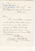 Letter From Turner Nott & Co. Bristol 1883 Re Stand to Sell Products Ref... - $7.59