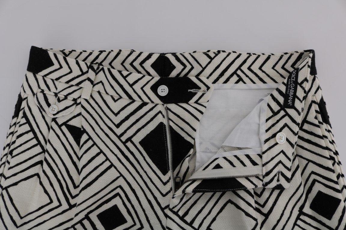 New $610 Dolce & Gabbana Men White Black Striped Casual Shorts It44-Xs