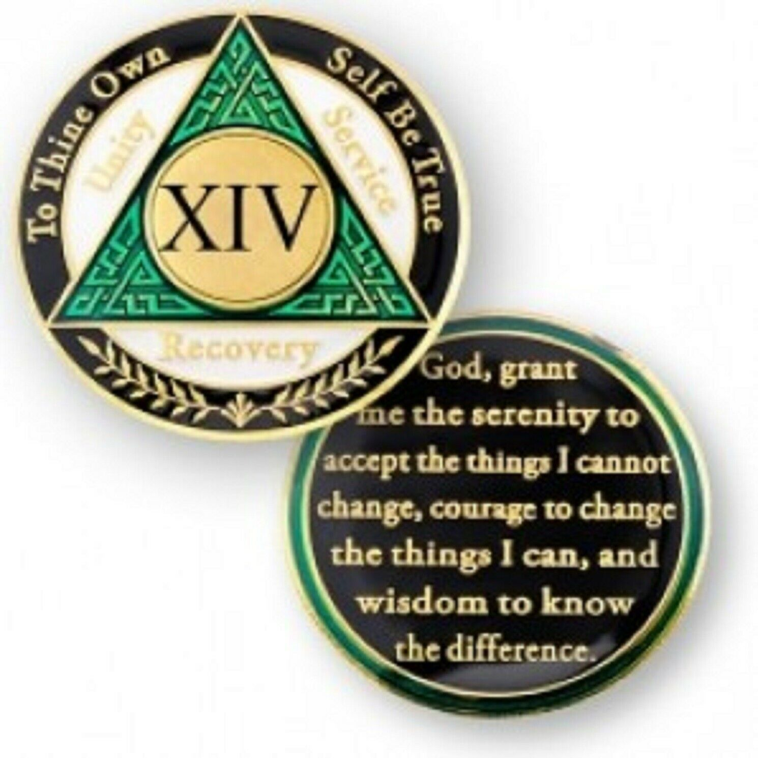 Primary image for 14 YEAR SOBRIETY  AA RECOVERY GREEN BLACK WHITE 18K GOLD GP  CHALLENGE COIN