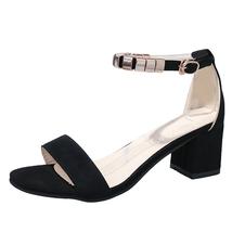 Buckle 5 Summer 5CM Fashion Sandals 2018 Casual Flock LCIZRONG High Women Heel 4qwPTn