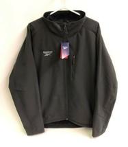 Reebok Mens Jacket Coat Soft Shell Faux Fur Lined Full Zip 2XL Black Out... - $59.35
