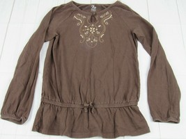 Childrens Place Girls Brown Long Sleeve Embroidered Neck T-Shirt Size L(... - $4.99