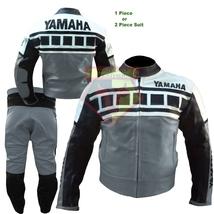 YAMAHA 6728 GRAY MOTORBIKE MOTORCYCLE BIKERS COWHIDE LEATHER ARMOURED 2 ... - $339.99