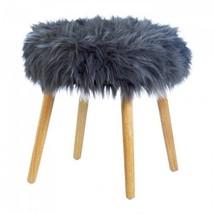 Gray Faux Fur Stool - $85.99