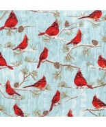 Winter White 3-Winter-BTY-Kaufman-Red Cardinals-Snowy Branches-Silver Me... - $10.95