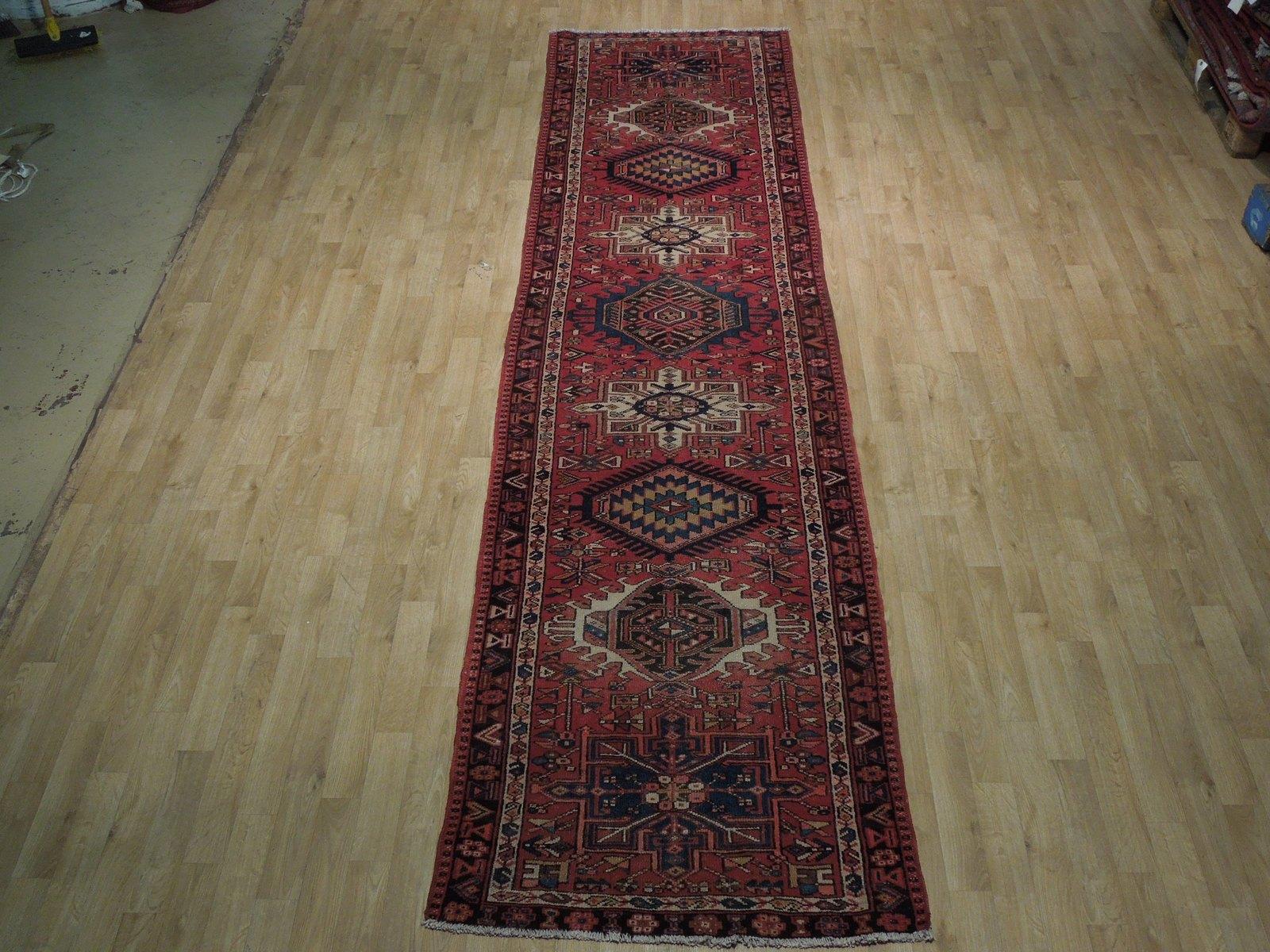 Red 3 x 13 All-Over Classic Tribal Design Runner Karaja Persian Handmade Rug image 4