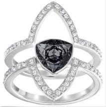 NWT Swarovski Crystal FANTASTIC Silver 2 RING SET 7/55/M Authentic GIft ... - $87.12