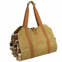 Off the Grid Firewood Log Carrier Bag - Waxed Canvas Wood Bag - Campfire... - $38.38