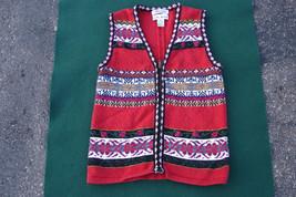 CROFT & BARROW Embroidered Christmas Sweater Sleeveless Cardigan Flower ... - $15.00