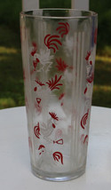 Very heavy 1950s Cocktail Shaker Roosters Painted Red & White  No Lid - $42.75