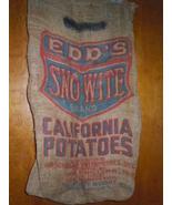 Vintage Edd's SNO-WITE California Potato's Burlap Bag - $12.99