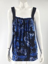 Studio Y Top Size XL Black Blue Butterfly Print Sleeveless Stretch Shirt... - $12.67