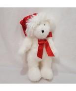 White Santa Teddy Bear Christmas Stuffed Animal Plush Boyds Bears Red Ha... - $19.99