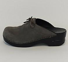 Lands End Women's Sz 7 Gray Black Suede Clogs Mules Shoes (37.5 EU, 5 UK) - $23.21